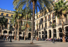 Plaza Real in Barcelona, Spain. The courtyard of Plaza Real in Barcelona, Spain. Photo shot in November, 2012 Stock Photos