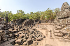 Courtyard in of Prasat Bayon in the morning, Angkor Thom, Siem Reap, Cambodia. Royalty Free Stock Images