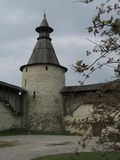 The courtyard of the Pskov Kremlin in early spring. royalty free stock photography