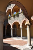 Courtyard renaissance building with arcades Royalty Free Stock Photography