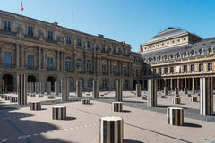 Courtyard of the Royal Palace, columns of Buren and roof of the Stock Images