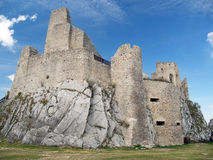 Courtyard and ruin of the Castle of Beckov royalty free stock photography