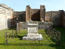 Courtyard of a ruined villa at Pompeii, Italy Royalty Free Stock Photos