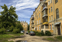 Courtyard of the Russian city. IVANOVO, RUSSIA - AUGUST 25. Typical courtyard of the Russian city of apartment buildings built mid-twentieth century. Taken on royalty free stock photography