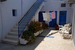 Courtyard in Santorini Stock Images