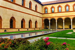 Courtyard of Sforzesco castle, Milan Stock Photos