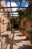 The courtyard shaded with vines Stock Images