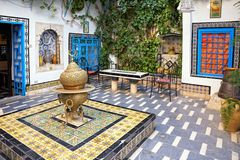 Courtyard at Sidi Bou Said, Tunis, Tunisia. Traditional courtyard at Sidi Bou Said, Tunis, Tunisia Royalty Free Stock Photos