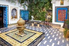 Courtyard at Sidi Bou Said, Tunis, Tunisia. Traditional courtyard at Sidi Bou Said, Tunis, Tunisia royalty free stock photos