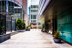 Courtyard and skyscrapers in Center City, Philadelphia, Pennsylv Stock Photos