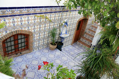 Courtyard with Spanish azulejos, Nijar, Andalusia Royalty Free Stock Photo