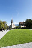 Courtyard of Spiez castle, Switzerland Stock Photos
