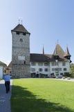 Courtyard of Spiez castle, Switzerland royalty free stock image