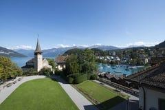 Courtyard of Spiez castle, Switzerland royalty free stock photography