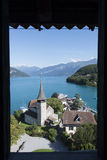 Courtyard of Spiez castle, Switzerland stock photo
