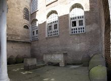 Courtyard of St. Sophia Cathedral. Ottoman burials. Medieval water storage tanks stock photography