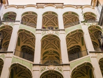 Courtyard staircases of Palazzo dello Spagnuolo, Rione Sanità, Naples, Italy Royalty Free Stock Photography