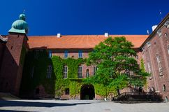 Courtyard in Stockholm City Hall Stadshuset, Sweden royalty free stock image