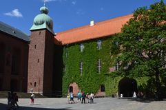 Courtyard in Stockholm City Hall, Sweden's famous building, the venue of the Nobel Prize banquet royalty free stock images