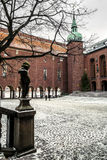 The courtyard of the Stockholm city hall in winter, Sweden. Royalty Free Stock Photo
