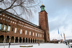 The courtyard of the Stockholm city hall in winter, Sweden. Stock Images