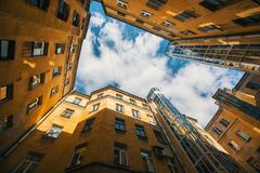 Courtyard structure shapes in Saint Petersburg. Royalty Free Stock Photo