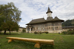 Courtyard of the Sucevita Monastery, Bucovina country, Romania Royalty Free Stock Image