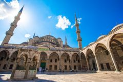 Courtyard of Sultan Ahmed Blue Mosque in Istanbul Royalty Free Stock Image