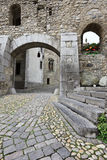 In the courtyard of swiss Chillon castle Royalty Free Stock Photography