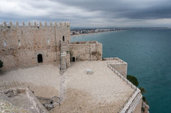 The courtyard of templar Castle in Peniscola Royalty Free Stock Photo