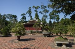 In courtyard of Thien Mu Pagoda. Unesco World Heritage Site.Hue, Vietnam stock photo
