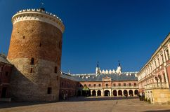 Courtyard and tower of royal castle in the city of Lublin, Polan royalty free stock photo