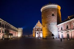 Courtyard and tower of royal castle of Lublin, Poland royalty free stock image