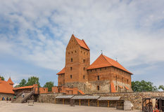 Courtyard of the Trakai red brick castle Royalty Free Stock Photos