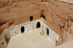 Courtyard of troglodyte cave. Matmata and the troglodyte dwellings. Tunis Royalty Free Stock Photos