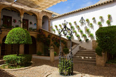 Courtyard of a typical house in Cordoba, Spain Royalty Free Stock Images