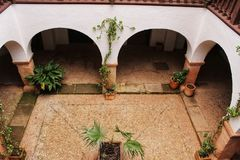 Courtyard of a typical spanish house in Castilla la Mancha, Spain stock photography