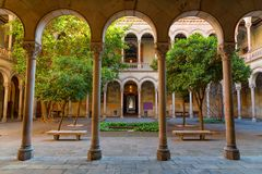Courtyard of university of Barcelona. Courtyard of the university of Barcelona, Catalonia, Spain, historic building Royalty Free Stock Photo