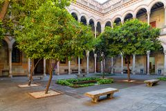 Courtyard of university of Barcelona Royalty Free Stock Images