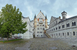 Courtyard view of Neuschwanstein Castle in Bavaria Stock Image