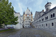 Courtyard view of Neuschwanstein Castle in Bavaria Royalty Free Stock Photography