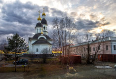 Courtyard with views of the Church. And Arkhangelsk in Northern Russia Royalty Free Stock Image