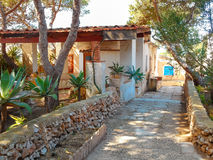 Courtyard village house with garden in Sicily Royalty Free Stock Photography