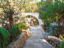 Courtyard village house with garden in Sicily Royalty Free Stock Images