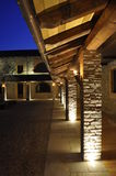 Courtyard Walkway. Stone and wood architectural details of a country hotel courtyard Royalty Free Stock Image