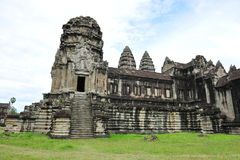 Courtyard and walls of Angkor Wat Temple Stock Images