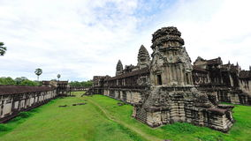 Courtyard & walls of Angkor Wat Temple in Cambodia Stock Photo