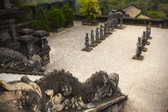 Courtyard with warrior statues at chinese temple Royalty Free Stock Photo