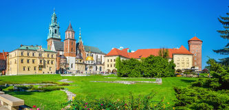 Courtyard of Wawel Royal Castle, Cracow, Poland. Panoramic view of courtyard of Wawel Royal Castle with Zygmunt Cathedral, Cracow, Poland Stock Photo