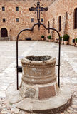 The courtyard with a well in bishops Castle Siguenza. Castillo d Stock Photography